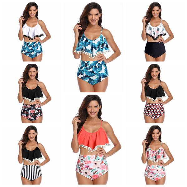 8 estilos Falbala bola Swimsuit biquíni borla Swimwear floral impresso Folha De Lótus Rendas Roupas de Banho biquíni festa senhora swimwear FFA1802