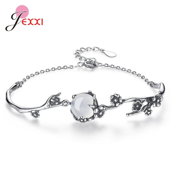 2020 Модный браслет для женщин девушки подарка Твердая 925 стерлингового серебра Natrual Кристалл Слива Blossom дизайн кулон браслет