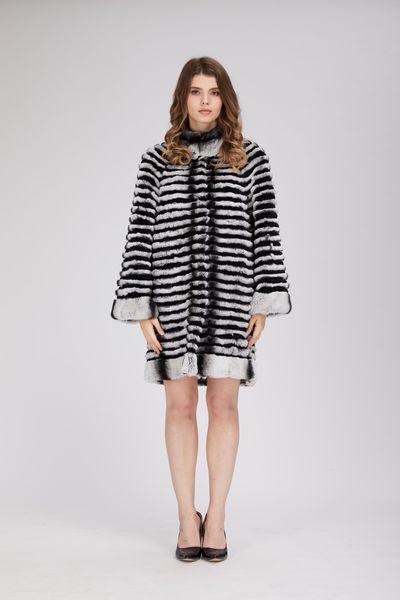 lady women real rex rabbit fur chinchilla color coat outwear fluffy furry winter womens