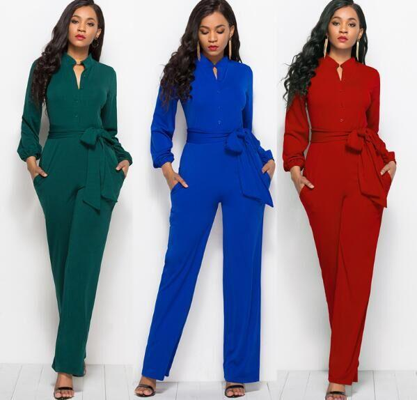 V Neck Wide Leg Pants Elegant Jumpsuits Romper Blue Long Sleeve Plus Size Tunic Overalls for Women factory supply