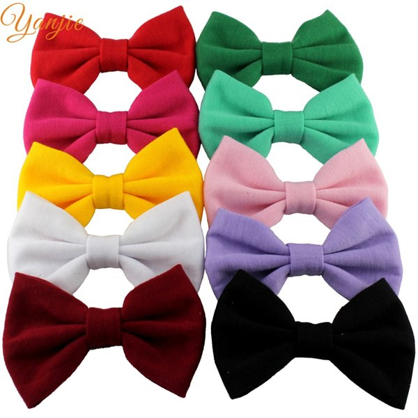 """ow without clip 10 pcs/lot Chic Solid Color Festival Kids Girl 3.8\"""" Cotton Bow Without Clips New Arrival DIY Hair Accessories Headwrap B..."""
