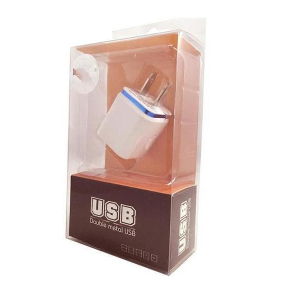 perakende ile samsung galaxy note LG tablet için metal Çift USB duvar ABD fişi 2.1A AC Güç Adaptörü Duvar Şarj Tak