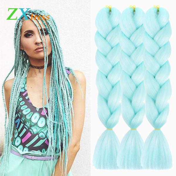 Longo Xpression trança do cabelo 24inch Atacado Kanekalon Jumbo tranças Crochet extensões de cabelo sintético tranças 5pcs / Lot 100g por peça