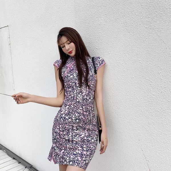 Kız Nazik İnce cheongsam elbise Yarma Kısa Etek QC0316 Modifiye Yaz Giyim Fabrikası Yeni Leopard Baskı Seksi