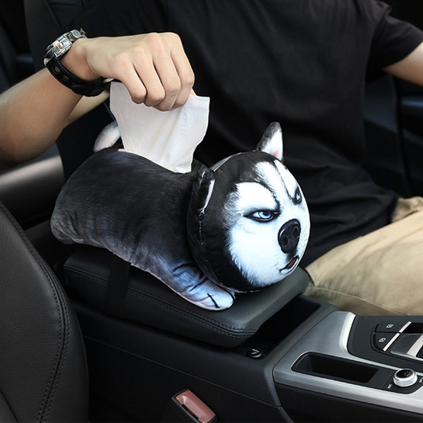 Car Auto Cute Pet Cartoon Car Armrest Box Universal Seat Back Tissue Box Interior Accessories