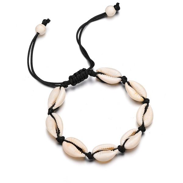 Conchas pulseras del encanto hecho a mano Natural Seashell mano tejer cuerda ajustable brazaletes mujeres accesorios rebordeado Strand pulsera playa joyería