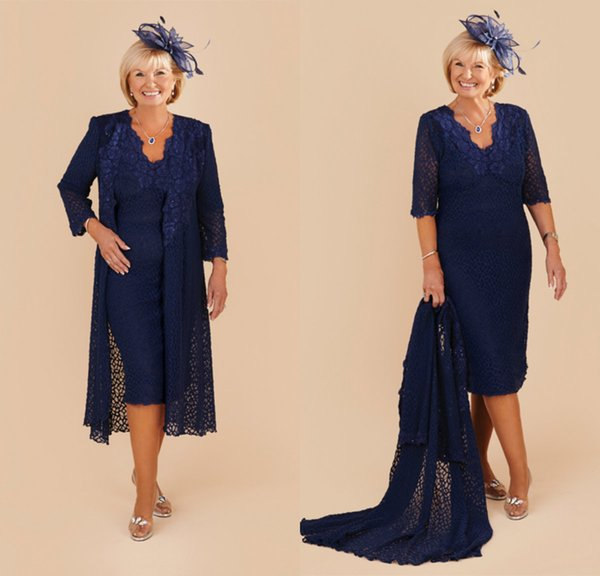 Dark Navy Mother Of The Bride Dresses Lace Appliqued Half Long Sleeve Wedding Guest Dress Knee Length Plus Size Prom Dress Evening Gowns