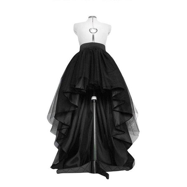 High Low Black Tulle Skirt Asymmetrial Hem Tutu Layered Wedding Bridal Gown High Waist Pleated Prom Skirt Gala Stylish Saia Y19043002