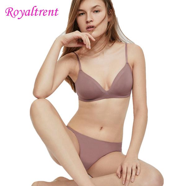 Thin Cotton Smooth Bra Without Steel Ring Gathered Bra Underwear Seamless Underwear Set Comfortable