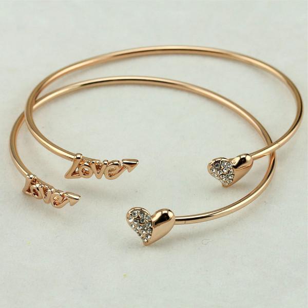 Моссовая Мода Пара Любовные Письма Открытые Браслеты Бриллианты Розовое Золото Любовь Сердце Браслеты Для Женской Моды Популярные Горный Хрусталь Браслеты