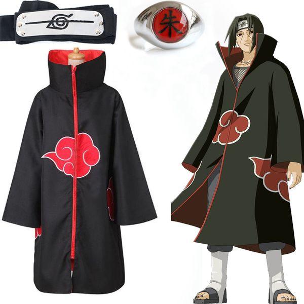 Regalos del traje de Cosplay nime capote de Naruto Akatsuki Itachi Uchiha anillo diadema Mujer Hombre animado de Naruto Akatsuki Uchiha Capa de cosplay ...