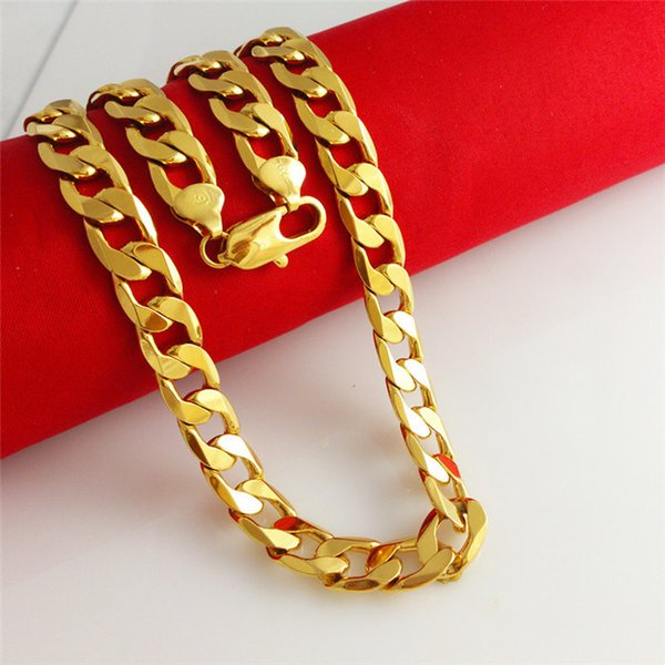 "Top Quality 18K YELLOW GOLD FILLED MEN'S NECKLACE BRACELET 24""Solid CURB CHAINS GF JEWELRY WIDE 8MM 10MM 12MM"