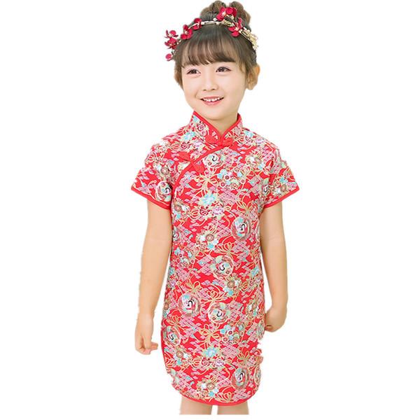 72e96c3f30ce1 2019 Red Baby Girl Slim Dress Summer Short Sleeve Children Clothes Fashion  100% Cotton Girl'S Cheongsam Party Wedding Qipao Dress Top From Steve7172,  ...