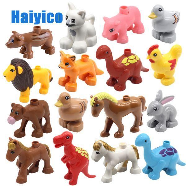 동물원 공룡 농장 말 사자 큰 빌딩 블록 Duplo와 호환되는 클래식 액세서리 Baby Diy Toys 동물 세트 벽돌 선물