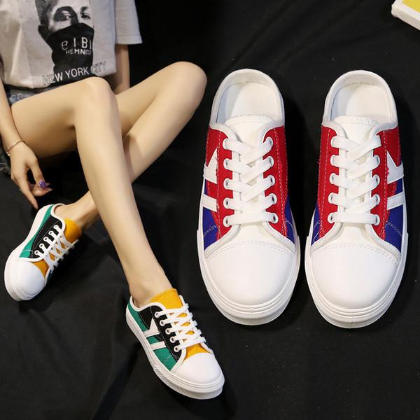 Kapalı toe maruz topuk bayan ayakkabıları 2019 ilkbahar ve yaz yeni tuval kadın rahat ayakkabılar öğrenci düz spor terlik