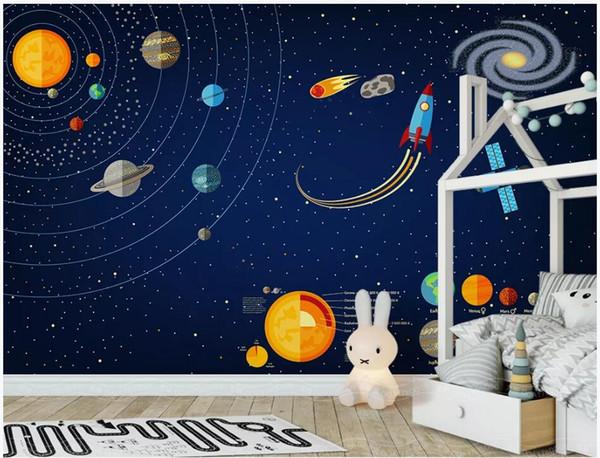 WDBH fondo de pantalla 3d foto personalizada Fondo de universo espacial pintado a mano habitación de los niños decoración del hogar murales de pared 3d papel tapiz para paredes 3 d