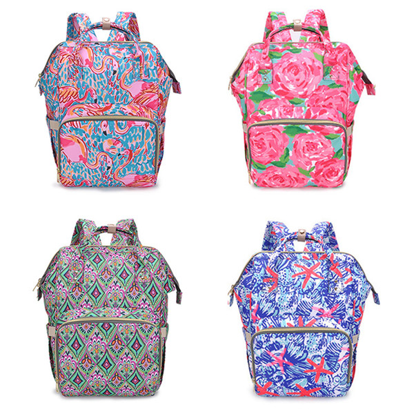 New Floral Mummy Backpacks Flamingo Printing Baby Diaper Backpacks Mommy Feeding Bags Nappy Mother Maternity Backpacks Diaper Bags B11