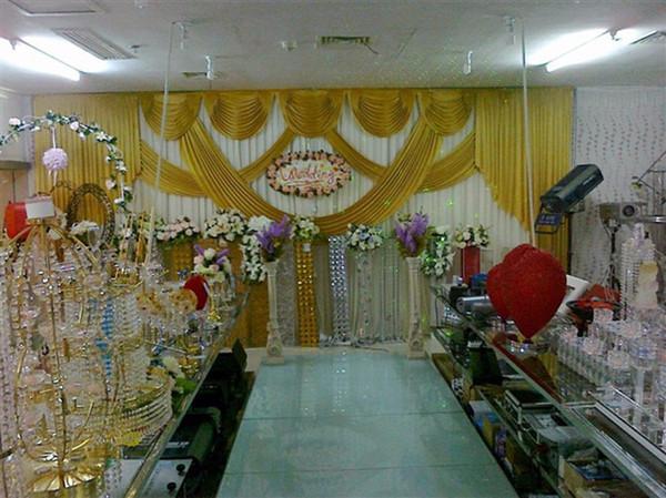 Элегантный дешевый свадебный фон золотой лед шелковой ткани фон занавес украшение свадьбы ламбрекенов размер и цвет может быть изменен 32