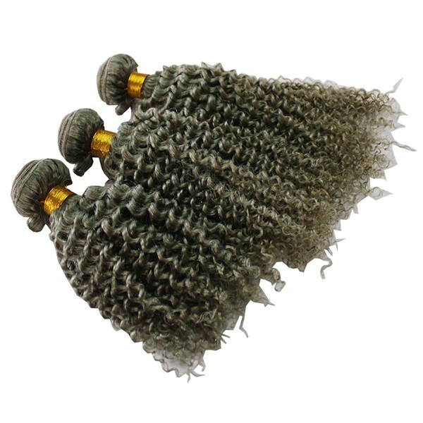 CE belgeli gümüş gri saç uzantıları 80g 100g 120 g / adet İnsan gri saç örgü brezilyalı sapıkça kıvırcık gri sarışın kahverengi saç uzatma