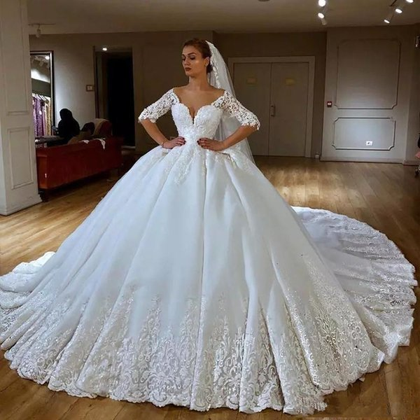 2019 Ball Gown Extravagant Couture Wedding Dresses Off Shoulder Half Sleeve  Lace Beads Cathedral Bridal Gowns Plus Size Saudi Arabic Dress Wedding