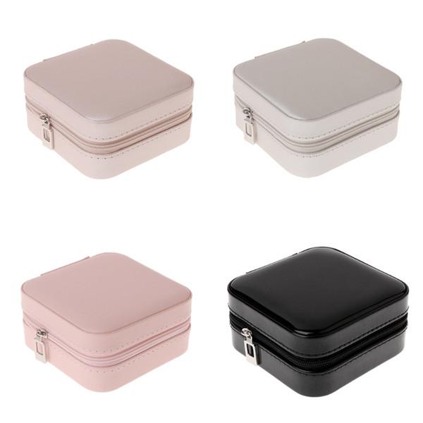 Jewelry Box de armazenamento portátil Organizador Zipper Mulheres portáteis Mostrar caso do curso 634D