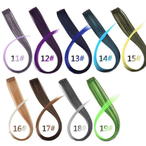 Clip-in synthétique One Piece Lupu longue ligne droite Couleur Extension synthétique colorée cheveux clip fille naturelle arc-en-22 pouces cheveux