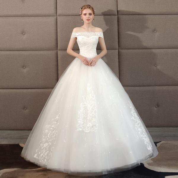 Wholesale one shoulder wedding dress, new palace princess show thin, large size, simple and light out the gauze girl