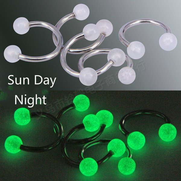6 Colors Luminous Acrylic Belly Button Rings Sexy Women Belly Nose Piercing Barbell Steel Navel Piercing Body Jewelry Women