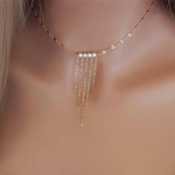 Yeni Moda Gümüş Altın Renk Zinciri Simüle Inciler Metal Püsküller Kadınlar için Cilalı Yuvarlak Ince Gerdanlık Kolye Hediye Takı