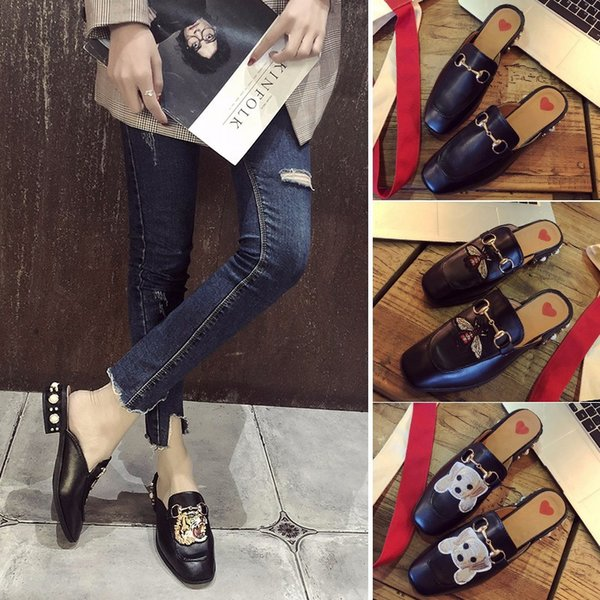 Fashion Luxury Designer Women Shoes Embroidered Shoes Flat Bottom Student Newest Cauual Style Sandals Girl Slipper Classic Chain Animal Pics