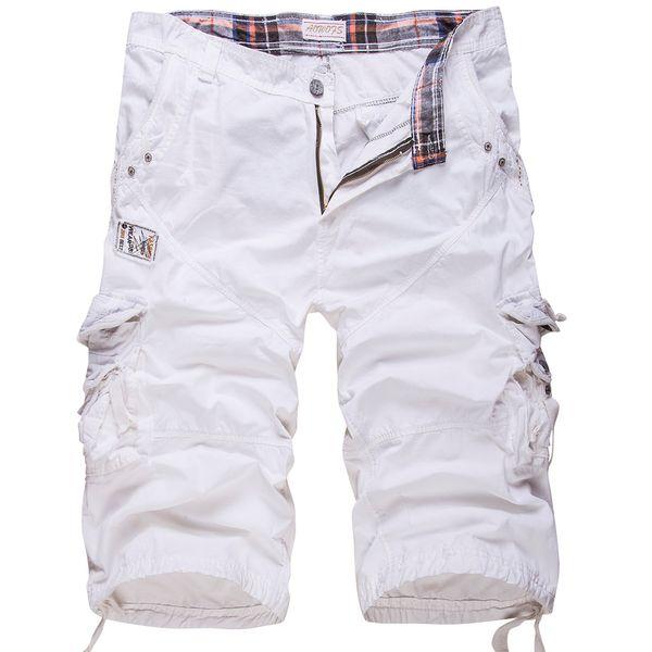 Nuevo algodón de los hombres ocasionales de tamaño suelto de carga color sólido Patchwork Shorts militares blanco rodilla táctico C19042401