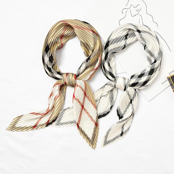 2019 Nuevo Fold Leopard Estampado floral Dot Design Mujeres Twill bufanda de seda pequeño cuadrado bufandas Moda Hijab diadema corbata