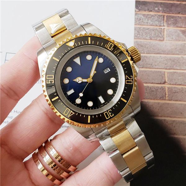 Мужские часы Deep керамического ободок SEA-Dweller Sapphire Cystal из нержавеющей сталь с Glide Лками Застежки автоматических механических мужскими часов