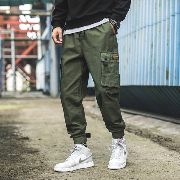Japan Style Men's Cargo Pants Velcro Cuff Tactical Joggers Men Side Pockets Cotton Trousers Male Hip Hop Casual Streetwear Pants