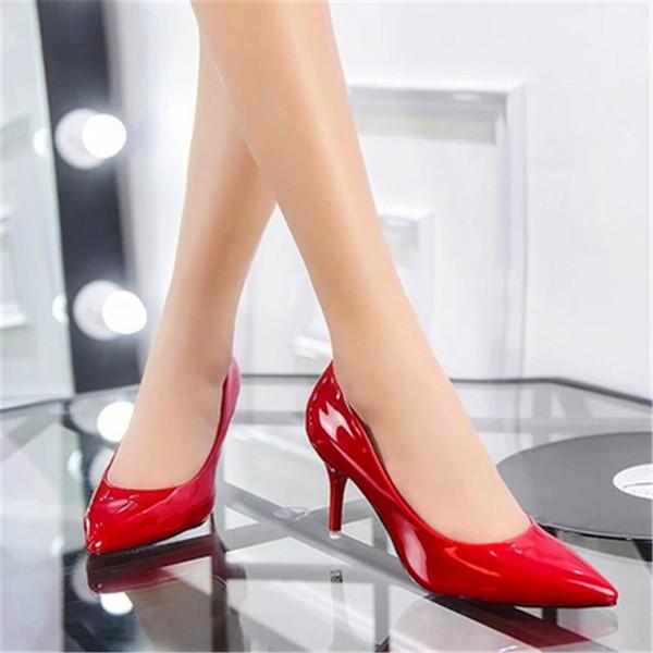 Dress Shoes 2019 New Heel Sharp Black Sexy Paint Women's Single