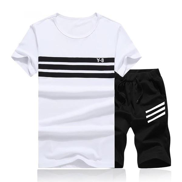 2019 nuevos del verano de los hombres Conjunto 2PC Sporting Traje de manga corta de la camiseta + pantalones cortos de dos piezas de chándal + pantalones de secado rápido del chándal de los hombres