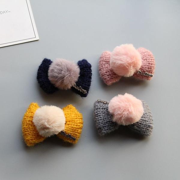 Versão coreana da mão de lã tricotada bola de cabelo infantil arco de cabelo anel de cabelo da menina do ornamento ornamento da cabeça do bebê pato-de bico-de-bico