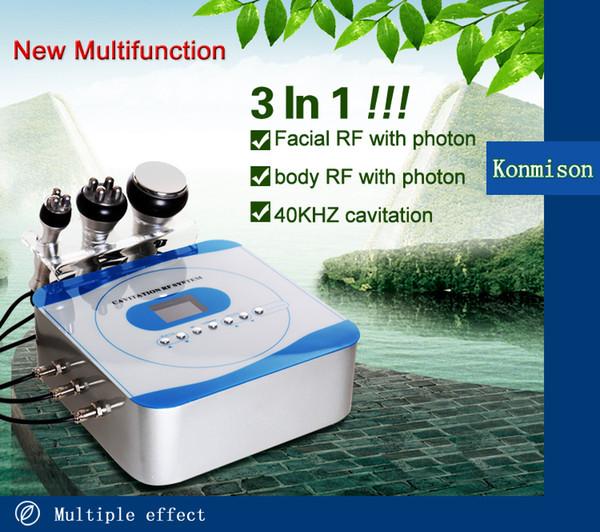 Neue Ankunft Hohe Qualität 3 in 1 40 Karat Ultraschall Kavitation 5 Mhz Radiofrequenz Und Rot Led Licht Gesicht Und Körper Schönheit Maschine