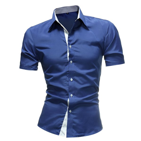 Brand 2019 New Dragon Print Men's Designer Military Slim Fit Dress Shirt Casual Short Sleeve Shirts Tops M-4xl