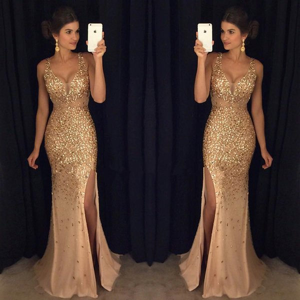 2K19 New Design Sexy Burgundy Prom Dresses with Gold Lace Appliqued Mermaid Front Split for 2019 Long Party Evening Wear Gowns