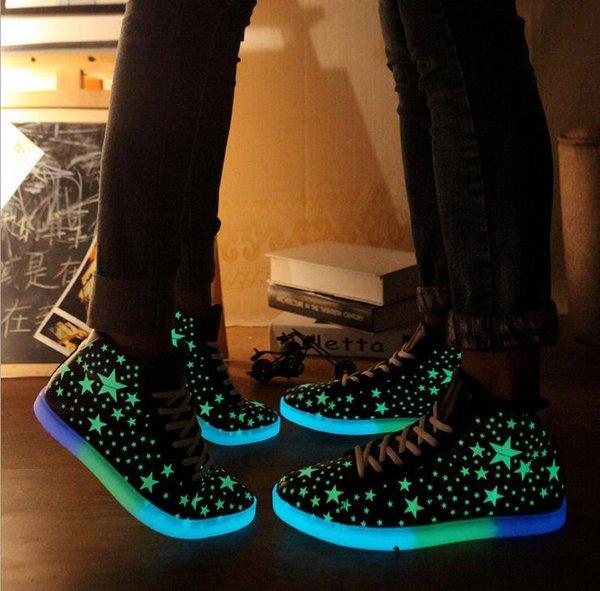 Led Işıklı Ayakkabı 2017 Led Erkekler Kadınlar Için Rahat Ayakkabılar Moda Yetişkin Chaussure Lumineuse Için LED Yanar Ayakkabı