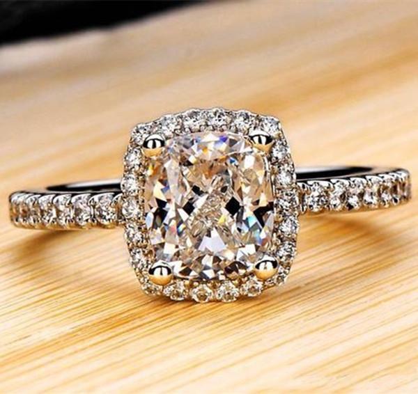 Kadınlar Gelin Düğün Anelli Trendy Mücevher Nişan Beyaz Altın Renk Anillos Mujer İçin Gümüş yüzükler