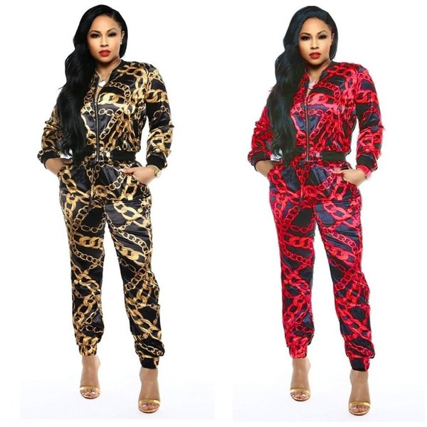 Women's Fashion Spring Classic Black Gold Print Casual Sports Set Two-Piece Casual Tracksuits Zipper Long Sleeve Top and Pants Outfits 2019