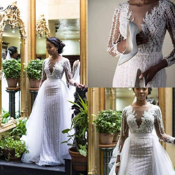 Luxury Long Sleeves Pearl Beaded Mermaid Wedding Dress With Detachable Train Elegant African Sheer Lace Plus Size Bridal Gown Custom Made