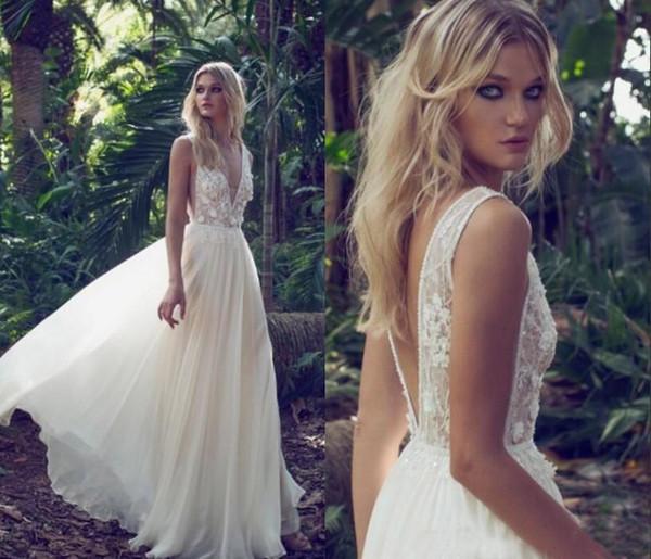 Sexy Open Back Beach Boho Wedding Dresses Berta 2019 Bohemian Country A Line Cheap Chiffon Straps Lace Top Beads Bridal Gowns Plus Size