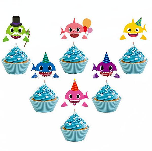 Requin Gâteau Carte Animal Cake Toppers 6pcs / set Dessin animé Cupcake Inserts Carte Anniversaire Bébé Requin Cadeau Fête D'anniversaire Décoration GGA1951