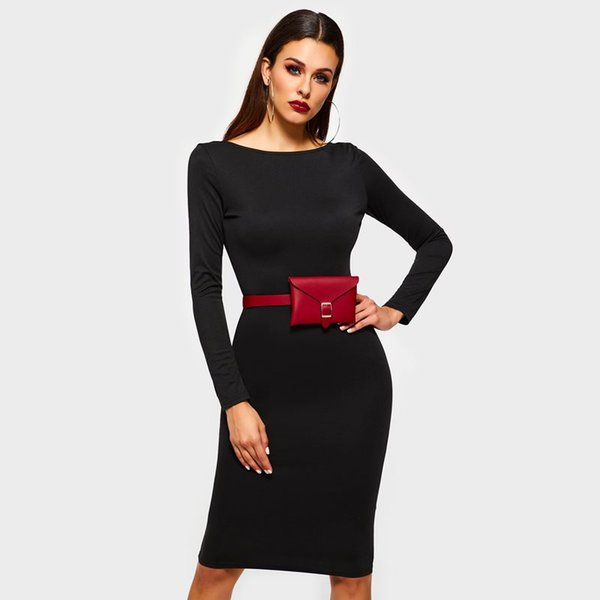 Women Midi Pencil Dresses Black Elegant Spring Office Lady Hot Plain Sexy Travel Party Female Fashion Casual Backless Dress