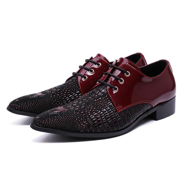 Fashion Luxury Italian Pointed Toe Derby Man Dance Footwear Genuine Leather Alligator Men's Modern Wedding Party Shoes
