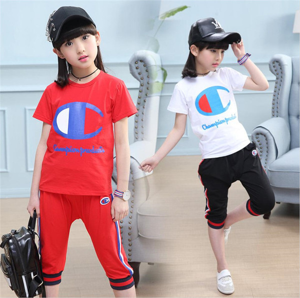b5fd3bb85 Kids Champion Tracksuit Brand Letter Short Sleeve T shirt + Shorts 2 Pieces  Set Designer Children