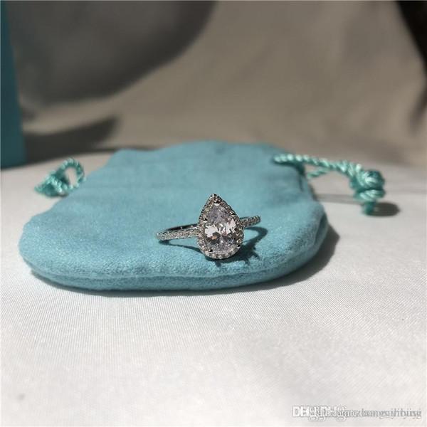 T soleste poire forme anneaux luxe bague en diamant amour célèbre marque designer bijoux 925 en argent sterling fiançailles bague de mariage présent